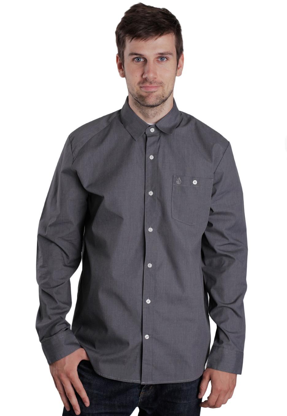 volcom everett solid l s dark grey shirt streetwear shop