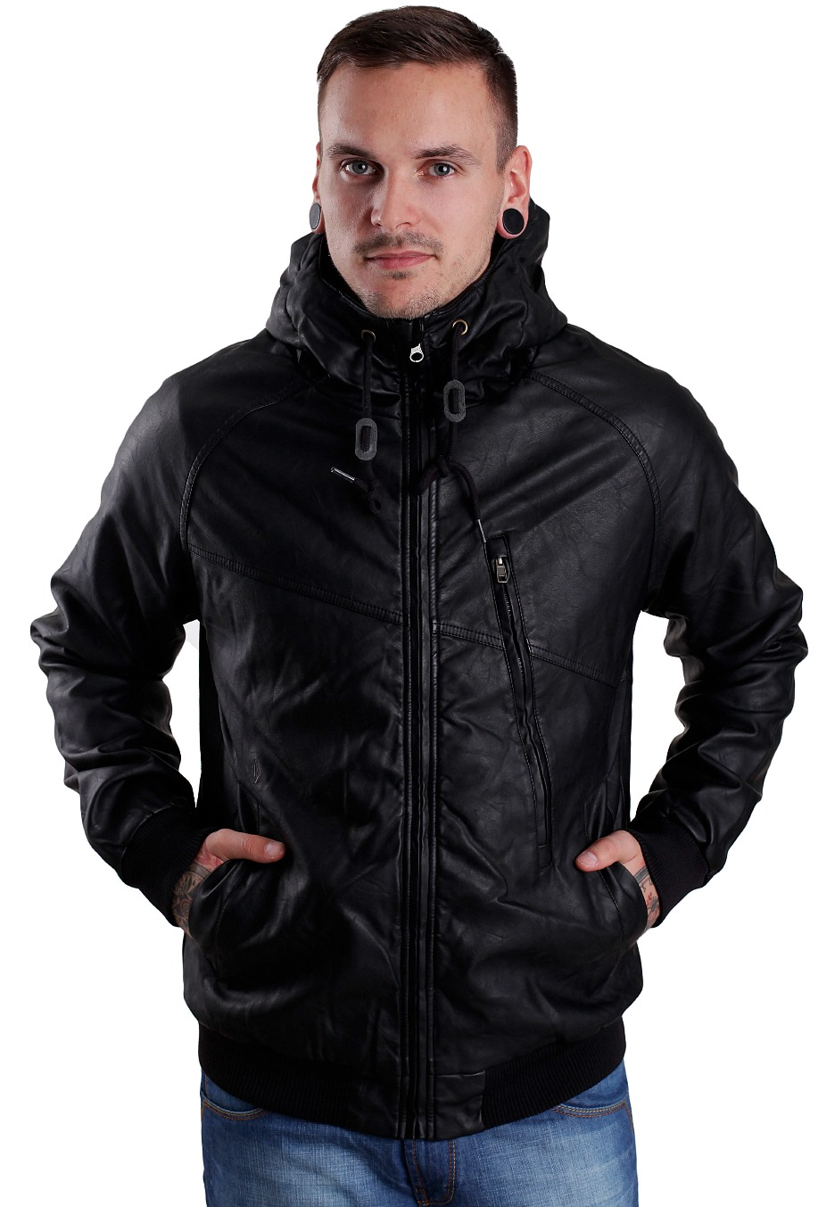 71c248102a0a Volcom - Hernan III Black Combo - Leather Jacket - Streetwear Shop ...
