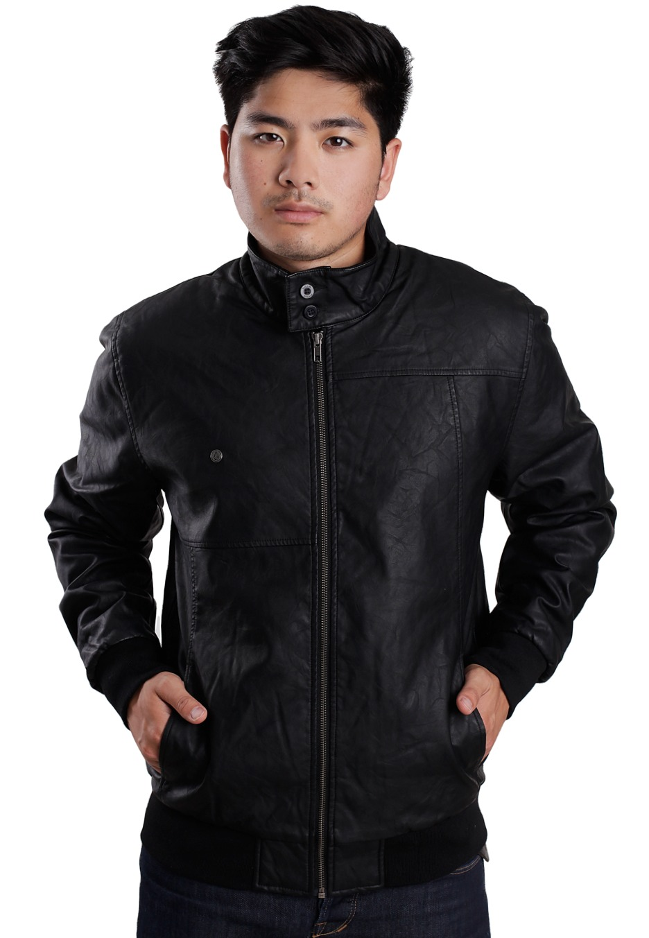 Jacket Black Hoxton Lined Leather Volcom Combo PEXPq